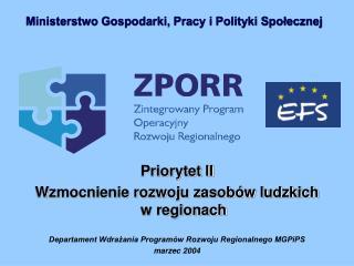 Priorytet II  Wzmocnienie rozwoju zasobów ludzkich  w regionach
