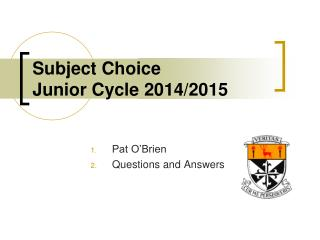 Subject Choice Junior Cycle 2014/2015