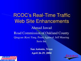 RCOC's Real-Time Traffic Web Site Enhancements