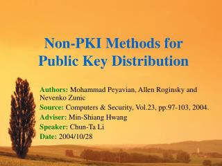 Non-PKI Methods for Public Key Distribution