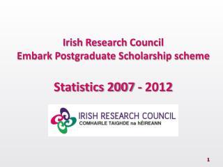 Irish Research Council Embark Postgraduate Scholarship scheme Statistics 2007 - 2012