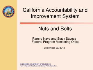 Ramiro Nava and Stacy Savoca    Federal Program Monitoring Office  September 20, 2012
