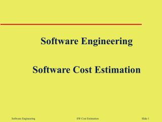 Software Engineering Software Cost Estimation
