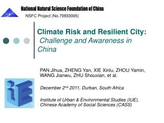 Climate Risk and Resilient City: ChallengeandAwarenessin China