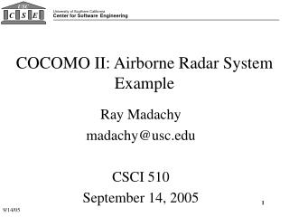 COCOMO II: Airborne Radar System Example