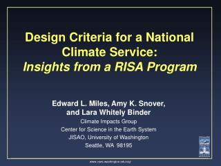 Design Criteria for a National Climate Service:  Insights from a RISA Program
