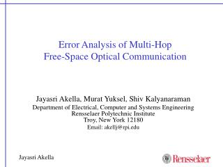 Error Analysis of Multi-Hop  Free-Space Optical Communication