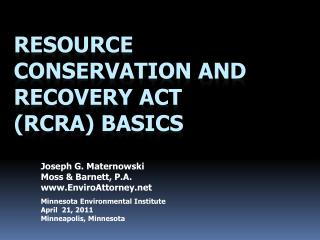 Resource Conservation and Recovery Act (RCRA) Basics