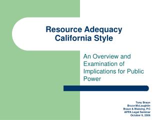 Resource Adequacy California Style