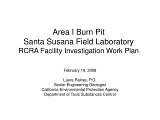 Area I Burn Pit Santa Susana Field Laboratory RCRA Facility Investigation Work Plan