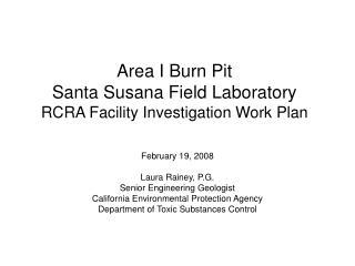 Area I Burn Pit Santa Susana Field Laboratory RCRA Facility Investigation Work Plan