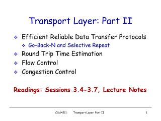 Transport Layer: Part II