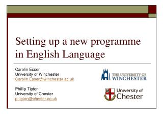 Setting up a new programme in English Language