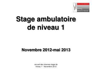 Stage ambulatoire  de niveau 1