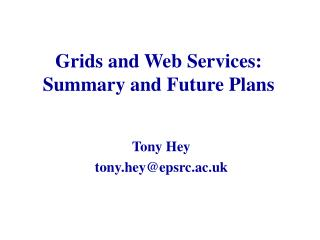 Grids and Web Services: Summary and Future Plans