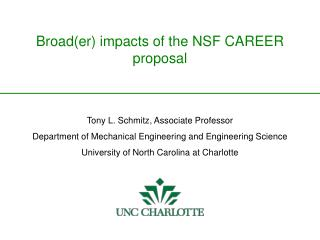 Broad(er) impacts of the NSF CAREER proposal