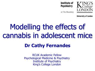 Modelling the effects of cannabis in adolescent mice