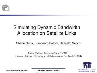 Simulating Dynamic Bandwidth Allocation on Satellite Links