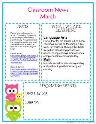 Classroom News  March