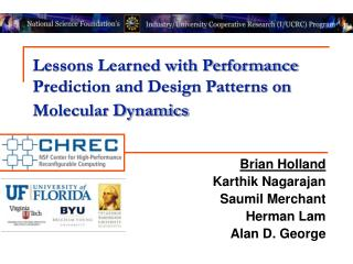 Lessons Learned with Performance Prediction and Design Patterns on Molecular Dynamics