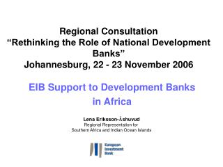 EIB Support to Development Banks  in Africa