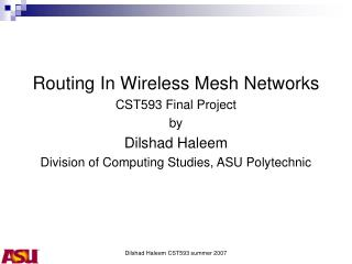 Routing In Wireless Mesh Networks CST593 Final Project by Dilshad Haleem