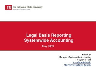 Legal Basis Reporting Systemwide Accounting