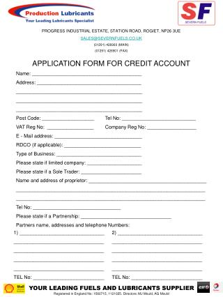 APPLICATION FORM FOR CREDIT ACCOUNT
