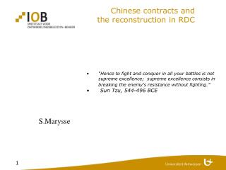 Chinese contracts and  the reconstruction in RDC