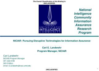 National Intelligence Community Information Assurance Research Program