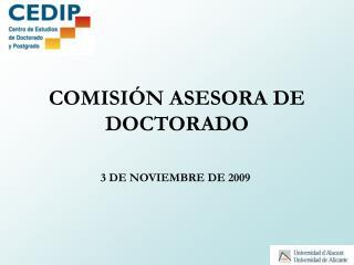 COMISIÓN ASESORA DE DOCTORADO