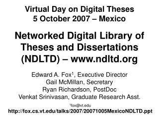 1 fox@vt fox.cs.vt/talks/2007/20071005MexicoNDLTD