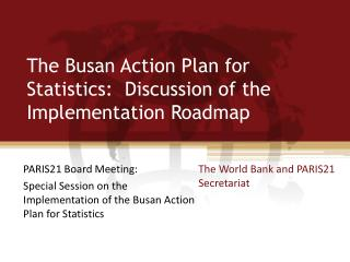 The Busan Action Plan for Statistics:  Discussion of the Implementation Roadmap