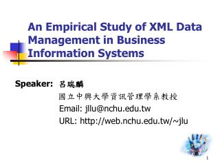 An Empirical Study of XML Data Management in Business Information Systems