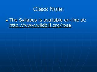 Class Note: