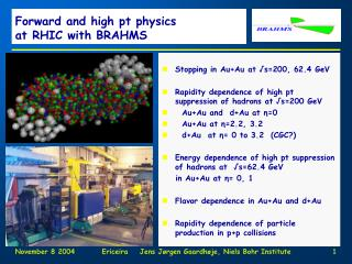 Forward and high pt physics  at RHIC with BRAHMS