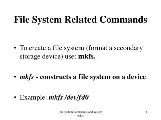 File System Related Commands