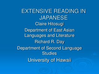 EXTENSIVE READING IN JAPANESE