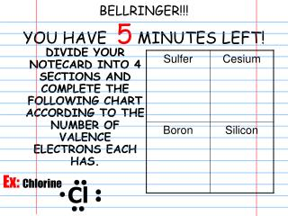 BELLRINGER!!! YOU HAVE   5  MINUTES LEFT!