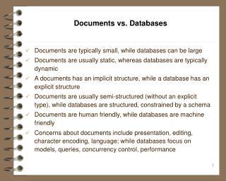 Documents vs. Databases