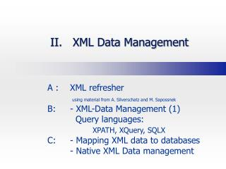 II.   XML Data Management