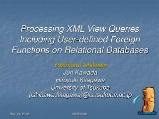 Processing XML View Queries Including User-defined Foreign Functions on Relational Databases