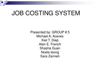 JOB COSTING SYSTEM