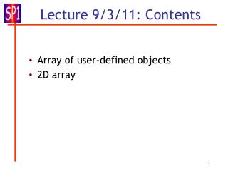 Lecture 9/3/11: Contents