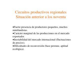 Circuitos productivos regionales Situación anterior a los noventa