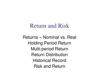Return and Risk
