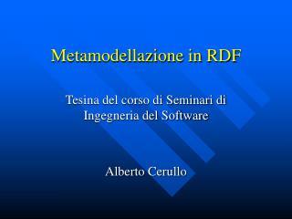 Metamodellazione in RDF