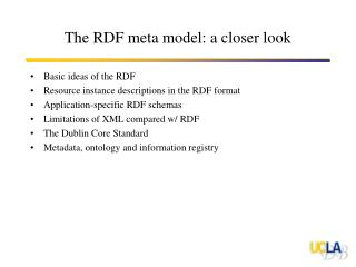 The RDF meta model: a closer look