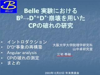Belle  実験における B 0 →D *+ D *- 崩壊を用いた CP の破れの研究