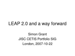 LEAP 2.0 and a way forward